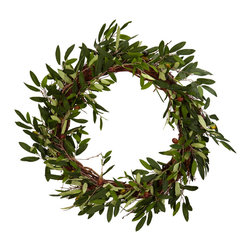 "Nearly Natural - 20"" Olive Wreath - Conjuring up images of old friends and close family, this striking Olive Wreath will help to set the mood for your next dinner event.  Filled with beautiful and lush green leaves encompassing a perfect circle, this Olive Wreath will be a big hit as you serve up that favorite Italian or Greek meal, whetting your guests' appetites for not only for the food, but the wonderful surroundings."