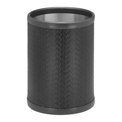 Kraftware - San Remo 10 in. Round Wastebasket in Eclipse - Made in USA. 10 in. Dia. x 12 in. H (1.5 lbs.)The Grant Signature Home collection's San Remo group features upscale leatherette vinyl's that have an old world charm. Beautifully textured and appointed, San Remo is a proven winner.