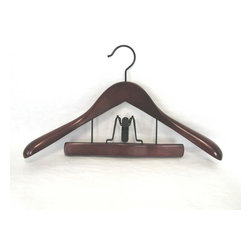 Proman Products - Taurus Suit Hanger With Trouser Clamp - Taurus Suit Hanger with Trouser Clamp, in Mahogany finish. Ideal to keep suits wrinkle free. 12 pcs per case,