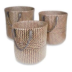 Foreign Affairs Home Decor - Baskets RAGA, Round with handles,  Set of 3, - Stylish open baskets with handles. The weaving on this baskets is a traditional Thai water motif. Set of 3 (L, M, S). Can be nestled into each other. Natural/Black.