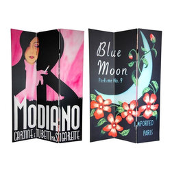 Oriental Furniture - 6 ft. Tall Double Sided Modiano/Blue Moon Room Divider - Presenting a wonderful pair of images from turn of the century art deco/art nouveau style product advertisements. On the front is the art of Louise Max for Blue Moon Perfume No. 9 depicting a simple blue crescent moon against a dark background wreathed by a flowering vine. The back features a pink version of a classic Franz Lenhart print of a fashionable woman advertising Modiano brand tobacco. These vintage art deco style images provide unique, urbane interior design elements perfect for any living room, bedroom, dining room, or kitchen. This three panel screen has different images on each side, as shown.