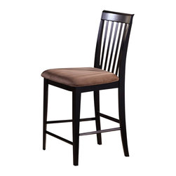 Atlantic Furniture - Atlantic Furniture Montreal Pub Chair in Espresso (Set of 2) - Atlantic Furniture - Bar Stools - AD774231 - The Atlantic Furniture Montreal Pub Chairs are constructed from Eco-friendly solid hardwood and have an elegant Espresso wood finish. This set of two pub chairs feature a vertical slat back design and a Cappuccino colored seat cushion. The Montreal Pub Chairs are perfect for a casual dining room setting.
