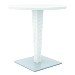 Compamia - 27.5in. Riva Werzalit Round Top Dining Table, White - 27.5 in.  Riva Werzalit Round Top Dining Table, White