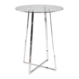 Euro Style - Modern Bar Table w Glass Top & Chromed X-Shap - Clear tempered glass table top, chromed steel base. Suitable for commercial use . Made of chromed steel . Chrome finish. Some assembly required. Assembly Instructions. 32 in. W x 32 in. D x 43 in. H (37.44 lbs.).