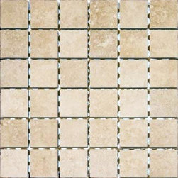 Tilesbay.com - Sample of 2X2 Glazed Travertino Beige Porcelain Tile - Travertino Beige 2x2 (in a 12x12 Sheet) Glazed porcelain tile has mild variation of mostly tone on tone beige's and creams. It is available in  various tile sizes and trims, quarter round and V-caps for excellent coordination and a perfect Theme.