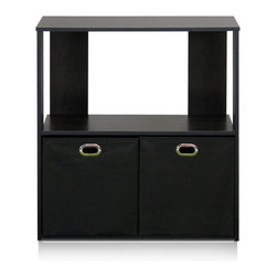 Furinno - Furinno 13233-4 Simplistic Organizer Shelf, Espresso/Black, 2-Tier - This Simplistic series of cube organizer is designed to fit in your space, your style and fit on your budget. This unit comes with two complimentary storage drawers that are made from non-woven fabric and cardboard. Although it is lightweight, it is still functional in hiding some soft toys, art and craft materials, and stationery. It will not be a bad idea to use it to store baby diapers and baby clothes too. This unit can be used in bathroom or restroom as well. Store your toiletries, bath tissues and etc.