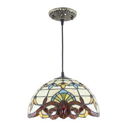 """Traditional Stained Glass Baroque Style Pendant Ceiling Lighting - 12"""" Stained Glass Lampshade, Iron Base Traditional Baroque Style Pendant Ceiling Lighting"""