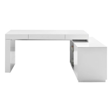 J&M Furniture - S005 Modern Office Desk in White High Gloss - This is a mix of functionality and great style. The useful and fashionable S005 Modern Office Desk in White High Gloss features a built in bookshelf ideal for storage  organization.    Features: