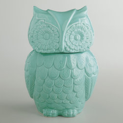 Aqua Owl Cookie Jar - I'm seeing owl cookie jars everywhere. Is this a thing? I do love this one though.