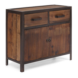 ZUO ERA - Fort Mason Cabinet Distressed Natural - Functional and fantastic: this cabinet may be small but it packs a big punch.  Made from solid elm wood and antique metal, it's got two drawers, a cabinet and ample storage space. It's an ideal piece for your loft or downtown apartment.