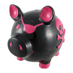 Large Black /  Hot Pink Pirate Pig Piggy Bank Skull - This adorable glossy black and pink cold cast resin pirate pig money bank really brightens up a room. The bank features a hot pink Jolly Roger skull and crossbones on each side, and the pig is wearing an eye patch. The pig measures 8 inches tall, 9 inches long and 6 inches wide. The bank empties via a twist-off plastic piece on the bottom. This bank is hand-painted, and makes a great gift for pig or pirate lovers.