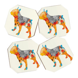 DENY Designs - Iveta Abolina Frenchie 4 Coasters - Say goodbye to water rings on your furniture and hello to the stylish solution: DENY Designs' Coaster Set. Available in a set of four, you can also opt for the coaster tray to house the set or go the a la carte route. Either way, your glasses are going to get a fun drinking companion!