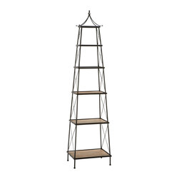 """ecWorld - Urban Designs Parisian Natural Wood and Metal Widening Shelf Tower - 81"""" High - Classic and sophisticated, this storage and display tower elegantly keeps items organized. An infinitely useful shelf that towers over the rest, at nearly 7 feet tall."""