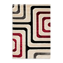 Safavieh - Safavieh Calleo 5-Foot 3-Inch x 7-Foot 6-Inch Room Size Rug - Shag rug with a neutral color palette and modern motif will add a modern touch to any room. Plus, the soft plush pile will feel great underfoot.
