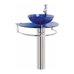Renovators Supply - Glass Sinks Glass/Stainless Blue Moon Pedestal Glass Sink - Glass Sinks: the tempered glass Blue Moon pedestal sink package comes complete with faucet, drain, and p-trap.