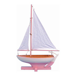 Handcrafted Nautical Decor - Sunset Sailboat - --NOT A MODEL SHIP KIT   --Attach Sails and this Sailboat Centerpiece is Ready for Immediate Display ---- --Brighten   your day, or any room of your home, with   this delightfully fun  Sunset Sailboat - Pink 17'' model. Perfect nautical Decor gifts for friends,     children, or party guests, they also make excellent nautical decorations   or sailboat centerpieces for a reception or group event. Liven your   office, beach   house, or sunroom with one of these colorful sailboat   models today! --------    Handcrafted solid wood hull, masts and stand with wood supports--    Largest sailboat selection available - We offer over 150 unique model sailboats --    Featured in Sept 2011 Brides magazine - Excellent wedding table centerpiece--    --    Perfect nautical gift for friends, children or party guests--    --    Ideal for banquets, receptions, meetings, or any other nautical party or event ---- Contact us for quantity discounts---- --This model sailboat requires minor assembly. Simply insert mast into hull and clip on the sails. --There is no rigging to tie or tighten. Assembly takes less than 2 minutes.--