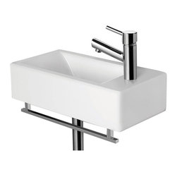 ALFI - Alfi AB108 Small White Modern Rectangular Wall Mounted Ceramic Bathroom Sink Bas - Shop for Bathroom from Hayneedle.com! Contemporary style designIdeal for small bathrooms with limited spaceSleek rectangular shapeHole diameter: 1.75Weight: 22 lbs.Single-faucet hole cut in right side1-year warrantyAbout Alfi Trade Inc.A place where beauty quality and service meet at last. Alfi Trade Inc. is a Los Angeles California company that recently merged with Whitehaus Collection in West Haven Connecticut to be their exclusive West Coast distribution center. Whitehaus Collection products transform the most essential rooms in the home: the kitchen and bath into reflections of the homeowners personal style. For over 10 years Whitehaus Collection has been providing people with high-end decorative plumbing fixtures that are beautiful and stand the test of time.