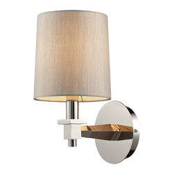 Elk Lighting - Elk Lighting 31330/1 Jorgenson 1 Light Sconce in Taupe Wood & Polished Nickel - 1 Light Sconce in Taupe Wood & Polished Nickel belongs to Jorgenson Collection by Elk Lighting The Jorgenson Collection Stylishly Bridges The Gap Between Mid-Century Modern Furniture Design And Lighting.��_��__ This Collection Was Designed Using Solid Wood That Emulates The Tapered Angle Of Fine Furniture Legs And Angular Metalwork That Compliments Its Sleek Style.��_��__ Choose Between Two Combinations Of Taupe Wood, Polished Nickel Metalwork And Champagne Fabric Shades, Or Mahogany Finished Wood, Satin Brass Metalwork And Tan Crosshatch Textured Linen Shades. Sconce (1)