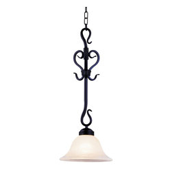 Elk Lighting - Elk Lighting Buckingham Traditional Mini Pendant Light X-KB-152 - This mini pendant light by Landmark Lighting features hand-forged iron that mimics the gentle curves of a crawling vines. A matte black finish adds a rich texture and color to the metal work. The white faux marble glass shade is shaped like a blooming flower and emits a brilliant quality of light, ideal for any room.