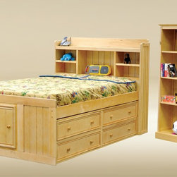 Full Size Kids Captain Bed with Bookcase by Good Trading - This unique bed features a storage headboard for displaying items. This kids captains bed is crafted with solid hardwood and bead board panel available in Walnut, Dark Pecan, Pecan, Black, White and Birch (Natural) Finish