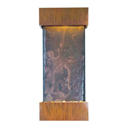Bluworld - Medium Nojoqui Falls Lightweight Slate Fountain - Copper Patina - This smaller lightweight version of the original Large Nojoqui Falls wall fountain is named after the beautiful 164 foot tall Nojoqui Falls waterfall, located in central California where the Water Wonders line was originated. These water fountains are a truly unique, engaging and an elegant addition to any indoor space. Redesigned, the Medium Nojoqui Falls fountain includes long-lasting super bright white LED lights rated for over 10,000 hours of use and an ergonomic finger slide remote control to easily dim or brighten the LED lights or turn them on and off. This water fountain glistens as water sheets over the genuine multi-color Indian Rajah Slate flowing past polished river rock creating a soothing sound and beautiful focal point for any room. This fountain is engineered with Bluworld's clog-free, splash-free design and features the Water Wonders NSI�� genuine light weight Slate. Installation is super easy with the lightweight nature of the NSI�� slate panels. Simply hang on the wall per the instructions.This water fountain can be customized with your logo. Etched and hand-painted logos start at only $395.00. Contact our sales department for more information at 1-888-499-5433.The Medium Nojoqui Falls fountain is the perfect size to hang on just about any wall, and it will instantly raise the level of class in any living room, foyer, office or lobby. These indoor water falls come with a choice of four finishes: Standard colors; Copper Vein and Black Onyx and premium finishes; Copper Patina,or Brushed Stainless Steel.Water Wonders NSI�� Light Weight Slate��- Water fountains made with our NSI�� Light Weight Slate use our patent pending technology which sheers a layer of genuine Indian Raja Slate and fuses it to composite material with the same chipped edge technique as slab slate. They are indistinguishable from a thick slab of slate. All the beauty is retained and the weight is reduced by