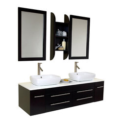 Fresca - Fresca Bellezza Espresso Modern Bathroom Vanity w/Solid Oak Wood & Ceramic Sinks - Not to brag, but this is our most popular piece being sold. Marble, real wood and ceramic make up this stunning piece bought for city condos and 1+million residences. Double sinks make this perfect for a master bedroom, his and hers with equal amount of drawer space. A convenient medicine cabinet hangs in the same color as the sink and counter top. Very clean lines, no fuss, no extra frills make it easy for the homeowner to then spice up the rest of the bathroom as much or little. Very Midtown Manhattan. This design is an easy classic.