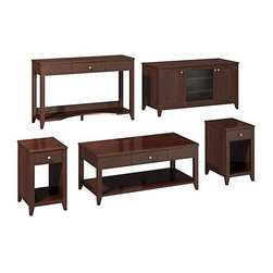 """kathy ireland Office - Grand Expressions Family Work-N-Play Set - Includes one coffee table, two end tables, one sofa table and one TV stand. Soft edges and rounded corners. Quick-to-Assemble technology reduces assembly time. Attractive antiqued pewter hardware. Meets American National Standards Institute (ANSI) and Underwriters Laboratories (UL) standards. Warranty: Three years. Hand applied warm molasses finish. Coffee table: . Rectangular shape. Protective top coat. One drawer for miscellaneous storage. Underneath open area storage. Drawer: 18.38 in. W x 12.5 in. D x 3.5 in. H. Overall: 47.17 in. W x 23.19 in. D x 20 in. H. End table: . Rectangular shape. Protective top coat. One drawer for miscellaneous storage. Underneath open area storage. Drawer: 9.5 in. W x 16 in. D x 3.5 in. H. Overall: 15.38 in. W x 18.75 in. D x 25 in. H. Sofa table: . Rectangular shape. Protective top coat. Can be used as workstation. Center drawer accommodates computer laptop. Bottom shelf houses books, binders and storage bins. Integrated wire management helps keeping work area neat and organized. Drawer: 18.38 in. W x 12.5 in. D x 3.5 in. H. Overall: 47.25 in. W x 15.38 in. D x 30 in. H. TV stand: . Includes StaBilibar TV safety brace. Two concealed storage cabinets. Center cabinet door with textured glass protects storage compartment. Two shelves inside glass cabinet. Soft close hinges. Accommodates flat-panel TVs upto 50 in. and 117 lbs.. Shelf: 19.88 in. W x 18 in. D x 19.38 in. H. Overall: 47.25 in. W x 19.88 in. D x 24.63 in. HOur Grand Expressions Collection was born out of the rich history and cultural diversity of America. The timeless styling, functionality, ingenious safety features and New World allure of the Grand Expressions collection will bring out the best in any room.""""QTA"""" Quick to AssembleSafety features"""