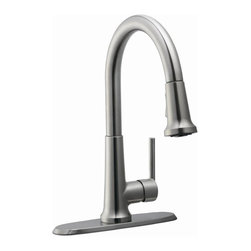 Design House - Geneva Kitchen Faucet in Satin Nickel - Includes 46 in. soft hose internal ABS pullout sprayer. Removable escutcheon base plate. Quick connect system. Brass waterways. Ceramic disc cartridge. Single hole mount. 0.25 in. quarter turn stop. Single handle configuration. 1.3 gallon per minute at 60 PSI flow rate. 9.06 in. spout reach. UPC, cUPC, ASME, ANSI, ADA, NSF, AB-1953 compliant. Made from zinc. 11.44 in. W x 10 in. D x 15.69 in. H. Warranty. Installation InstructionsGeneva kitchen faucet with pullout sprayer which eliminates baked on residue and rinses dishes and silverware clean of food and grime in hard to reach areas. The brass waterways contain zinc and copper which are known to prevent antimicrobial growth ensuring safe and clean water for your family. This faucet has a classic finish with a modern design and accents your home decor, as it is the centerpiece of any home. Wash dishes or fill pitchers with ease underneath this high vaulted faucet. This product adheres to industry leading practices and standards.