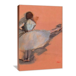 """Artsy Canvas - Ballet Dancer 16"""" X 24"""" Gallery Wrapped Canvas Wall Art - Ballet Dancer - Edgar Degas (1834-1917) was a French artist famous for his work in painting, sculpture, printmaking and drawing. He is regarded as one of the founders of Impressionism. beautifully represented on 16"""" x 24"""" high-quality, gallery wrapped canvas wall art"""