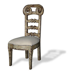 Koenig Collection - French Country Ladder Back Side Chair, Royal Grey Distressed W/ Espresso - French Country Ladder Back Side Chair, Royal Grey Distressed W/ Espresso and Upholstered in Linen