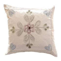 Banarsi Designs - Hand Painted Floral Pillow Cover, Set of 2, Snow White - Transform your pillows into a piece of art with our gorgeous floral Hand Painted Deluxe Pillow Cover Set from our Banarsi Designs collection.