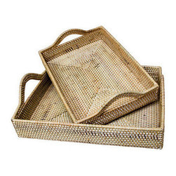 Brilliant Imports - Tray Set with Rounded Handles - Made of ate and rattan, this sturdy, streamlined tray set is a fresh take on the in-box or the perfect way to serve anything with style.