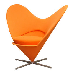 Vitra - Panton Heart Chair, Orange Tonus Wool - In the mid-1950's, Verner panton converted a Volkswagen bus into a mobile studio and travelled across Europe. In 1958 he returned to Denmark full of unconventional ideas... one of which evolved into the iconic Heart Cone Chair. Defying gravity, the cone was both futuristic and shocking... so much so that when it was exhibited in a shop window in New York City police had to order its removal due to the traffic chaos its presence created. A comfortable club chair for everyday use, Vitra has faithfully re-issued this classic in close collaboration with the Panton estate. The Heart Cone Chair takes its name from its heart-shaped silhouette. Production notes: Glass-fibre reinforced shell with light upholstery and seat cushion. Tonus wool fabric available in various colors. Brushed stainless steel crossed base.