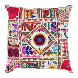 Surya Rugs - 18-Inch Square Multi-Color Bohemian Cotton Pillow Cover with Poly Insert - - 18 x 18 100% Cotton Pillow Cover w/ Poly Insert.   - For more than 35 years Surya has been synonymous with high quality innovation and luxury.   - Our designers have masterfully created some of the most cutting edge and versatile pieces to bring out the best in every room.   - Encompassing their expert understanding of the latest trends in fashion and interior design each product is a perfect combination of color pattern and texture to accommodate the widest range of tastes.   - With Surya the best in design and quality is at your fingertips.   - Pantone: Spring Green Deep Sea Green Blue Corn Raisin Magenta Venetian Red Paprika Burnt Orange Orange Peel Sienna Charcoal Gray Putty Papyrus.   - Made in India.   - Care Instructions: Spot Clean.   - Cover Material: 100% Cotton.   - Fill Material: Poly Fiber. Surya Rugs - AR068-1818P