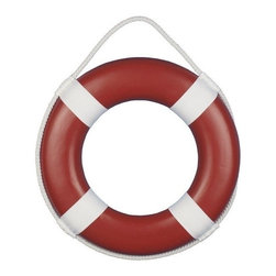 """Handcrafted Nautical Decor - Red Painted Lifering with White Bands 15"""" - Nautical Wall Hanging - Our Red Painted Lifering with White Bands 15"""" is the ideal piece to create that soothing ocean mood in any home or office. This bold solid colored lifering, compliments the white band around the lifering. Transform any room into a seaworthy experience without the water. Give as a nautical gift or hanging prominently on your wall to let guests know that you have an affinity for beach decor."""