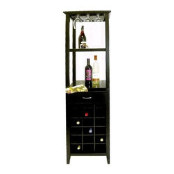 Proman Products - Galina Wine Rack Tower in Black Finish - Holds up to 18 wine bottles and 9 glasses. 17 in. W x 17 in. D x 66 in. H (46 lbs.)This beautiful wine rack gives a contemporary feel to your home with its Matte Black finish. It is perfect for any wine connoisseur.