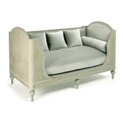 Kathy Kuo Home - Palais French Country Grey Sage Green Painted Cane Day Bed - Feel the stress of the day melt away when you relax and recline on this luxurious velvet day bed. Constructed from birch, the frame is finished with rattan and natural cane. The intricate carvings of rope and rosettes add delicate details to the front and arms of this settee. The cozy cushions are upholstered in a sumptuous sage velvet.