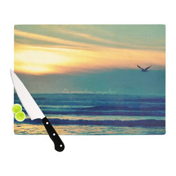 """Kess InHouse - Robin Dickinson """"Go Somewhere"""" Teal Orange Cutting Board (11"""" x 7.5"""") - These sturdy tempered glass cutting boards will make everything you chop look like a Dutch painting. Perfect the art of cooking with your KESS InHouse unique art cutting board. Go for patterns or painted, either way this non-skid, dishwasher safe cutting board is perfect for preparing any artistic dinner or serving. Cut, chop, serve or frame, all of these unique cutting boards are gorgeous."""