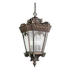 KICHLER - KICHLER 9564LD Tournai Traditional European Outdoor Hanging Light - With its heavy textures, dark tones, and fine attention to detail, the Tournai Collection stands out from other outdoor fixtures. Each piece is hand-made from cast aluminum, offering quality construction that is sure to withstand even the harshest of weather conditions. Our exclusive Londonderry finish and clear seedy glass panels give the piece its unique aged look.