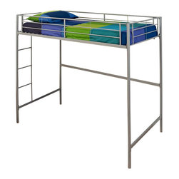 Walker Edison - Walker Edison Twin Over Loft Bunk Bed in Silver - Walker Edison - Bunk Beds - BTOLSPSL - This simple yet contemporary twin-over-loft bunk bed conveys chic style with its clean lines and the sturdy metal-crafted frame promises stability and function. Designed with safety in mind this bunk bed includes full length guardrails and an integrated ladder. This bed is ideal for space-saving needs and accommodates a variety of options below the loft.