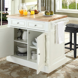 Crosley Furniture - Kitchen Island with Square Seat Stools in Whi - Includes two stools. Fully functional doors and drawers on both sides. Butcher block top. Two towel bars. Brushed nickel hardware. Carved column accents. Two adjustable shelves behind doors. Raised diamond accents and fluted pilasters. Stool with black upholstered. Warranty: 90 days. Made from solid hardwood and wood veneers. White finish. Made in Vietnam. Stool height: 24 in.. Overall: 48.25 in. W x 23 in. D x 36 in. H (155 lbs.). Assembly instructions - Kitchen Island. Assembly instructions - StoolThis kitchen island is designed for longevity. The handsome raised panel doors and drawer fronts provide the ultimate in style to dress up any culinary space. Raise the drop leaf to expand your serving space, or just sit at the breakfast bar and eat your meal. behind the doors, you will find adjustable shelves and an abundance of storage space for objects youd prefer to keep hidden. Open storage on both ends provides easy access to frequently used items, and is perfect for displaying decorative objects. Style, function, and quality make this kitchen island a wise addition to your home.