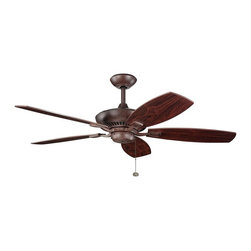 """BUILDER FANS - BUILDER FANS 300117TZ Canfield 52"""" Transitional Ceiling Fan - With a Tannery Bronze(R) finish, this fan is a wonderful addition to the Kichler Canfield(TM) Collection. The 5, 52"""" blades are pitched 14 degrees and are reversible with Teak and Cherry finishes. The 172mm x 20mm Motor will provide the quiet power you need. This fan comes complete with a pull chain (3 speeds forward and reverse) and 1 4 inch downrod. It is low ceiling adaptable."""