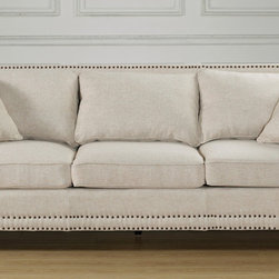 None - Camden Beige Linen Sofa - Traditional comfort meets modern style with the Camden Beige Sofa from TOV Furniture. Camden was designed to optimize comfort with a high backrest, comfortable cushioning and suitable seat height maximize relaxation.