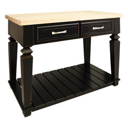 Hardware Resources - Bungalow Jeffrey Alexander Island 45-15/16 x 28-1/16 x 34  Aged Black - This 45 15/16 x 28 1/6 x 34 1/4 table style island with open shelf is manufactured using the highest quality furniture grade hardwoods and MDF.  The island features two deep working drawers on one side and a false front on the reverse.  Drawers are dovetail solid hardwood and are mounted on undermount full extension soft close slides.  Decorative hardware is included with this item.  Coordinating post  P34  is available in our carved wood collection.  Aged Black finish is applied by hand.  1 3/4 hard maple edge grain butcher block top sold separately  (ISL03 TOP   48 x 30)