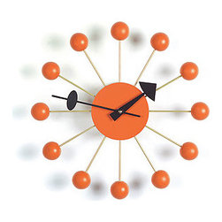 Vitra Nelson Ball Clock Orange - A mid-century modern classic, the Ball Clock by George Nelson will always give you an atomic edge. I highly recommend it in orange, the ultimate modern accent color.