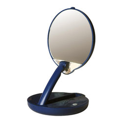 Floxite - Magnifying Lighted and Adjustable Compact Mirror (10x Magnifying), 15x Magnifyin - Choose Mirror: 15x Magnifying. Includes 4 AAA batteries. Powerful 10X magnification. Distortion free DFP glass. Adjustable arm folds for use as a compact, raises for use on vanity. Two super bright bulbs. Bulb is easily replaced. Great for skin care, tweezing, makeup and hair removal. Made from plastic and glass. Blue finish. No assembly required. 10 in. W x 5 in. H (1 lbs.)10x magnifying lighted blue compact is great for vanity, purse or travel! You can use it as a handy compact or, by raising up its arm, easily convert it into a mini vanity mirror.