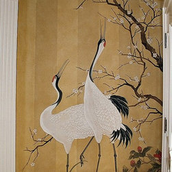 Cranes - An entire entry and staircase was painted in Asian style over striped wallpaper.