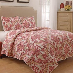 Waverly Bedazzle 3 Piece Quilt Set - The Waverly Bedazzle 3 Piece Quilt Set has a smart color palette and sophisticated damask pattern. A handsome way to dress up any bedroom, this quilt set includes a quilt coverlet and two pillow shams. This set is machine-washable and may be tumbled dry on low.Quilt Dimensions:Queen: 90L x 90W in.King: 90L x 106W in.About Ellery HomestylesOffering curtains, bedding, throws, and specialty products, Ellery Homestyles is a leading supplier of branded and private-label home-fashion products. Their products deliver innovation in fashion, function, and design and include names like Eclipse™, Curtainfresh™, SoundAsleep™, ComfortTech™, Vue™, and Waverly. Their 357,000 square foot facility in Lumber Bridge, North Carolina includes a high-speed pillow filling operation with a capacity of approximately 40,000 pillows a week.
