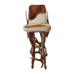 "Pre-owned Vintage Rustic Deer Antler & Hide Bar Stool - Let heaven and nature sing!  This vintage barstool will add a rustic flair to any space.  With an elegant yet ""down home"" aesthetic, this accent piece is sure to be a conversation starter.  Not to mention that this chair is perfect for viewing Game of Thrones marathons-getting you one step closer to the GOT living room of your dreams!"