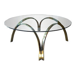 """Dunmar-Sprunger style - Consigned Mod Brass Cocktail Table, Dunbar Style - Mod glass and brass cocktail table in the style of Roger Sprunger for Dunbar. Fab styling for your chic living room. 42"""" W x 16"""" H"""